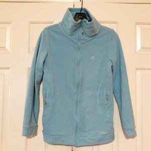 Addidas light blue fleece jacket zip & pockets GUC